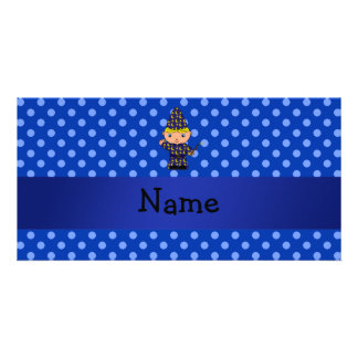 Personalized name wizard blue polka dots photo cards