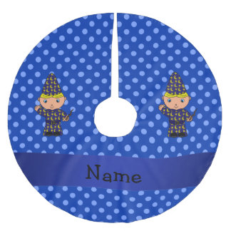 Personalized name wizard blue polka dots brushed polyester tree skirt