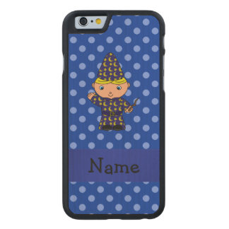 Personalized name wizard blue polka dots carved® maple iPhone 6 slim case