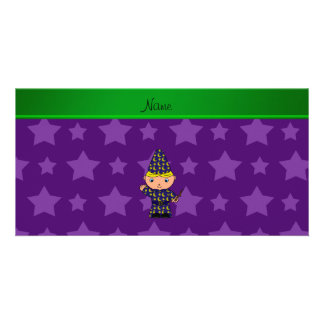 Personalized name wizard purple stars photo greeting card
