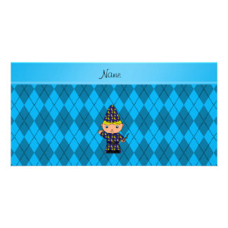 Personalized name wizard sky blue argyle picture card