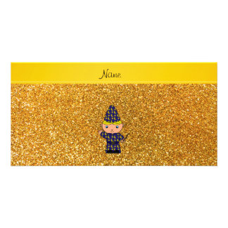 Personalized name wizard yellow glitter picture card