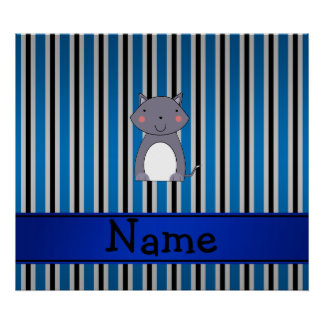 Personalized name wolf blue grey stripes posters