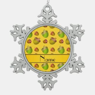 Personalized name yellow acorns pewter snowflake decoration
