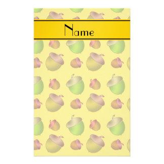 Personalized name yellow acorns stationery