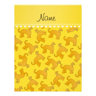 Personalized name yellow afghan hound dogs 21.5 cm x 28 cm flyer