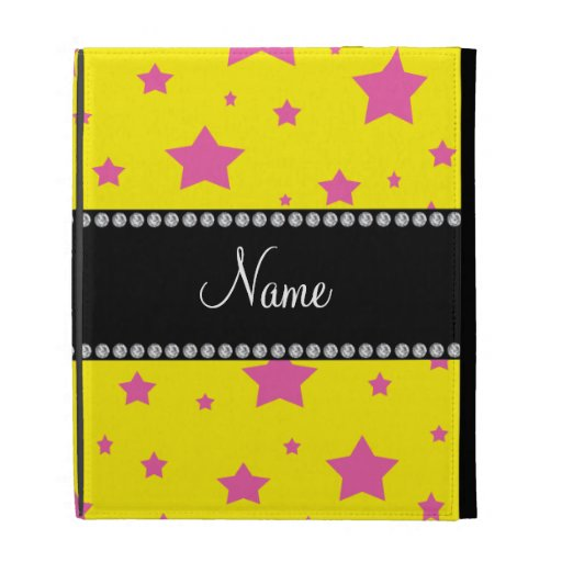 Personalized name Yellow and Pink stars iPad Folio Covers