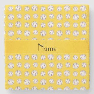 Personalized name yellow baseballs pattern stone coaster