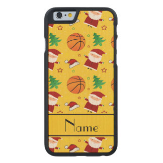 Personalized name yellow basketball christmas carved® maple iPhone 6 slim case