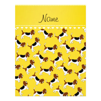 Personalized name yellow basset hound dogs 21.5 cm x 28 cm flyer