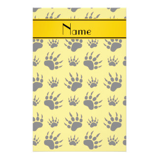 Personalized name yellow bear paw prints customised stationery