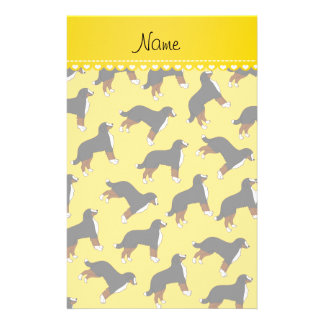 Personalized name yellow Bernese Mountain dogs Personalised Stationery