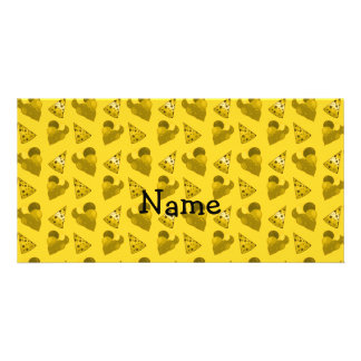 Personalized name yellow birthday pattern customized photo card
