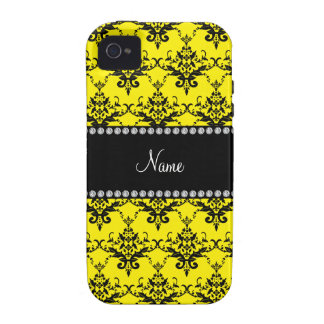 Personalized name Yellow black damask Vibe iPhone 4 Cover