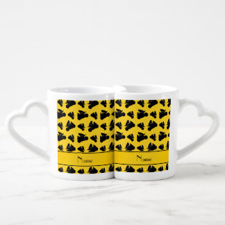 Personalized name yellow black motorcycle racing lovers mug