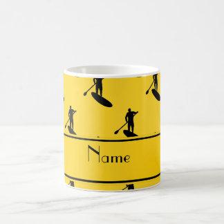 Personalized name yellow black paddleboarding coffee mug
