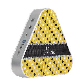 Personalized name yellow black white polka dots