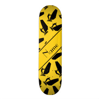 Personalized name yellow black windsurfing skate board deck