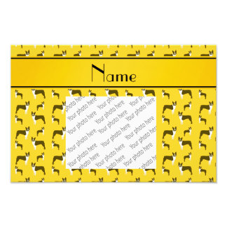 Personalized name yellow boston terrier photographic print