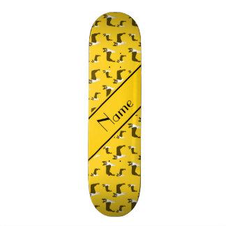 Personalized name yellow boston terrier custom skateboard
