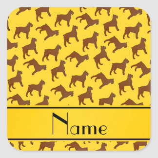 Personalized name yellow Bouvier des Flandres dogs Square Sticker