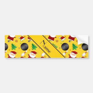 Personalized name yellow bowling christmas pattern bumper sticker