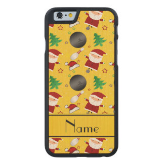 Personalized name yellow bowling christmas pattern carved® maple iPhone 6 slim case