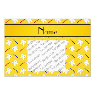 Personalized name yellow brushes and tooth pattern photographic print