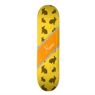 Personalized name yellow bunnies skateboard decks