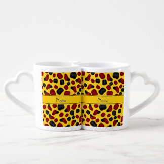 Personalized name yellow checkers game couple mugs