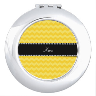 Personalized name yellow chevrons compact mirrors