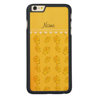 Personalized name yellow chicks carved® maple iPhone 6 plus slim case