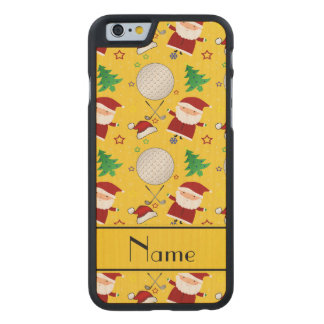 Personalized name yellow christmas golfing carved® maple iPhone 6 slim case