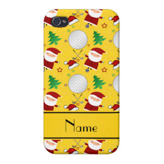 Personalized name yellow christmas golfing iPhone 4 cover