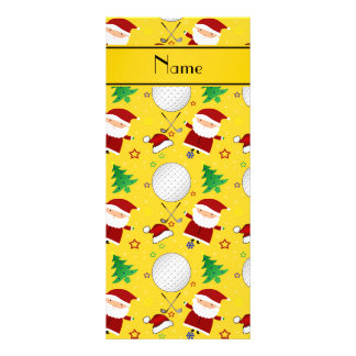 Personalized name yellow christmas golfing customized rack card