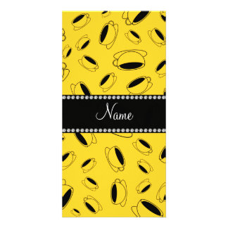 Personalized name yellow coffee cup customized photo card