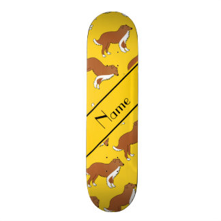 Personalized name yellow collie dog pattern 21.6 cm skateboard deck