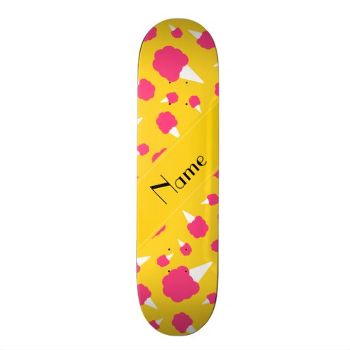 Personalized name yellow cotton candy skateboard deck