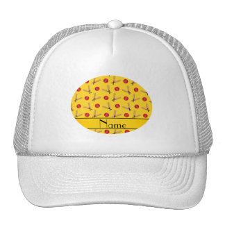 Personalized name yellow cricket pattern cap