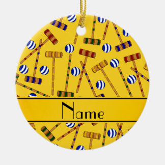 Personalized name yellow croquet pattern christmas ornament
