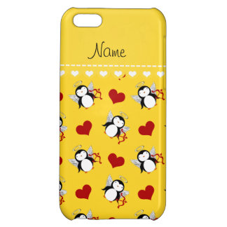 Personalized name yellow cupid penguins red hearts cover for iPhone 5C