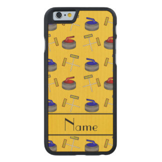 Personalized name yellow curling pattern carved® maple iPhone 6 slim case