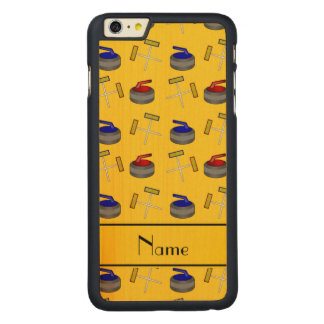 Personalized name yellow curling pattern carved® maple iPhone 6 plus slim case