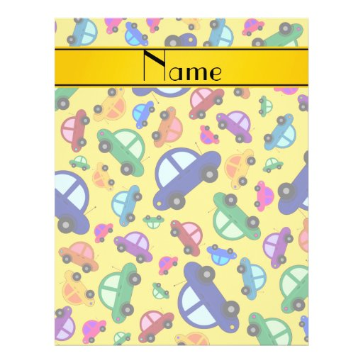 Personalized name yellow cute car pattern flyer design