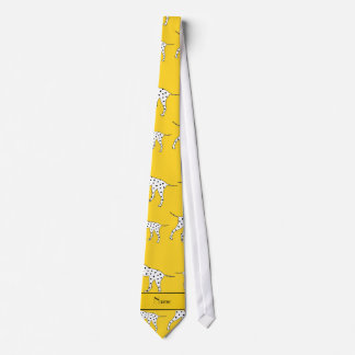 Personalized name yellow dalmatian dogs tie