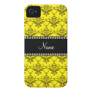 Personalized name Yellow damask iPhone 4 Case