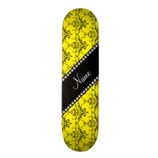 Personalized name Yellow damask Skate Boards