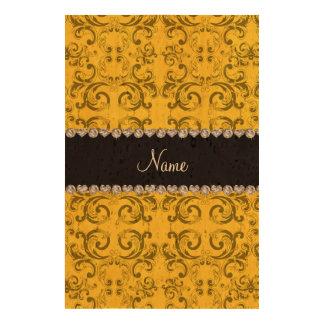 Personalized name yellow damask swirls photo cork paper