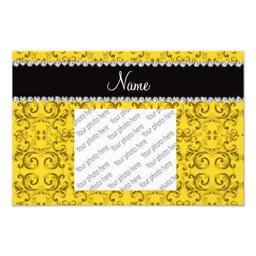 Personalized name yellow damask swirls photographic print