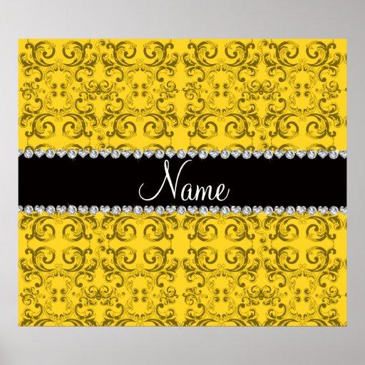 Personalized name yellow damask swirls poster
